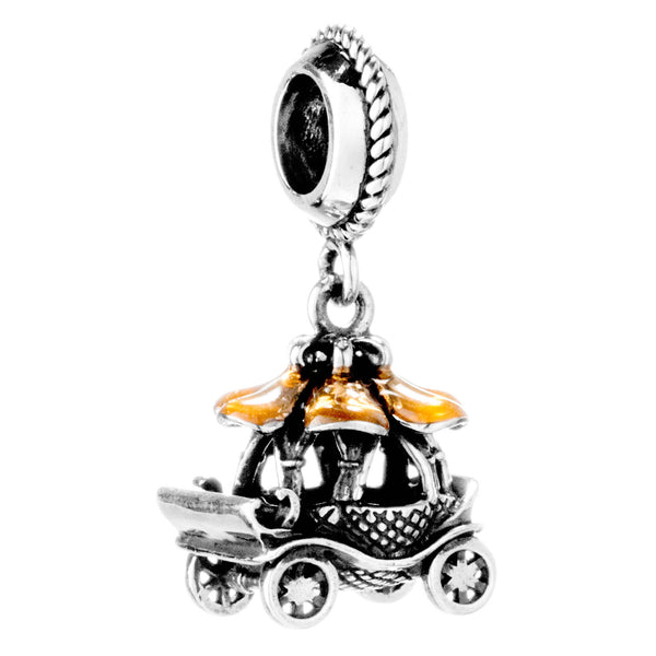 Vintage Fairytale Princess Pumpkin Carriage Hanging Charm in Sterling Silver