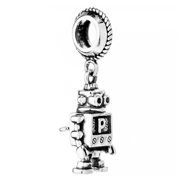 Robot Vintage Hanging Charm in Sterling Silver