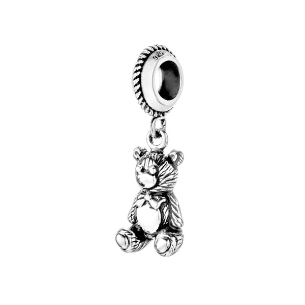 Vintage Teddy Bear Hanging Charm in Sterling Silver