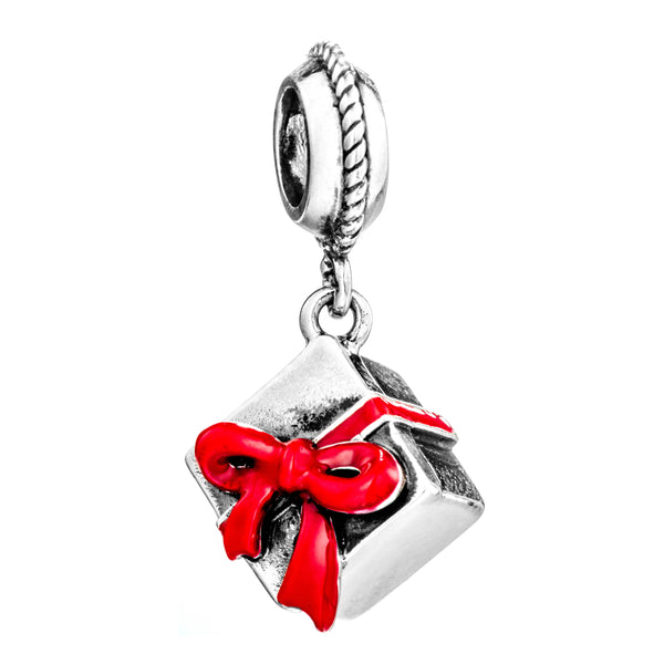 Christmas Festivals Gift Box Hanging Charm in Sterling Silver