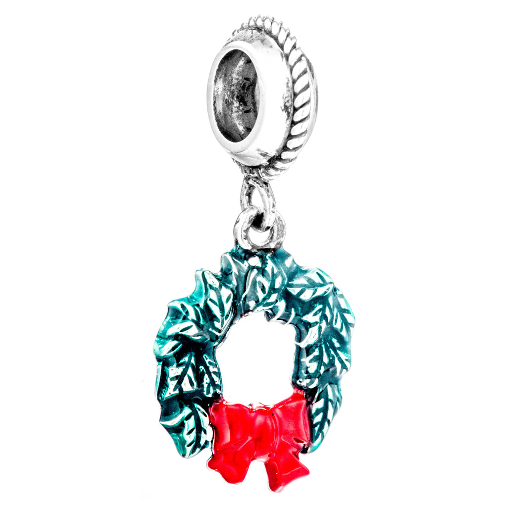 Christmas Wreath Green Red Bow Hanging Charm in Sterling Silver