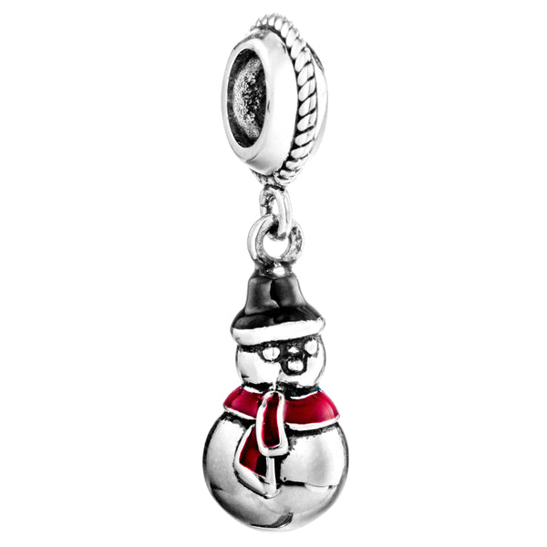 Vintage Christmas Snowman Red Scarf Hanging Charm in Sterling Silver