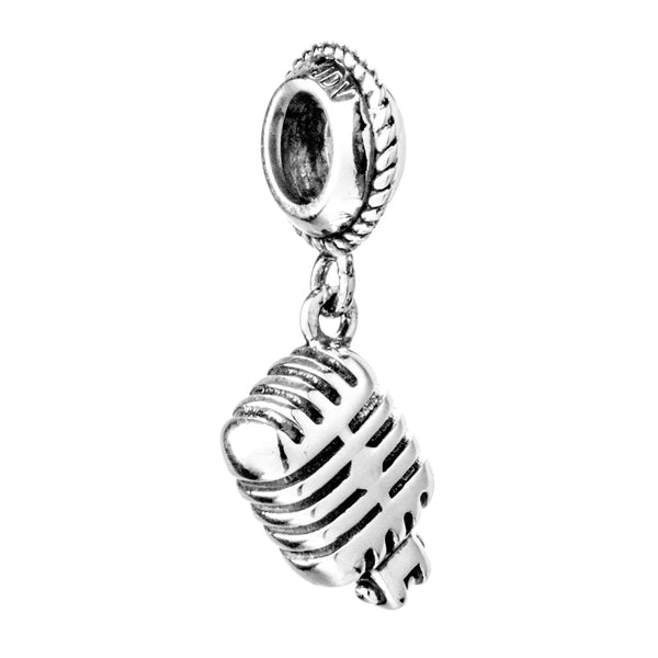 Microphone Film Singing Hanging Charm in Sterling Silver