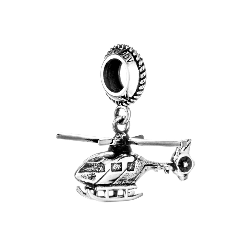 Vintage Helicopter Transport Hanging Charm in Sterling Silver