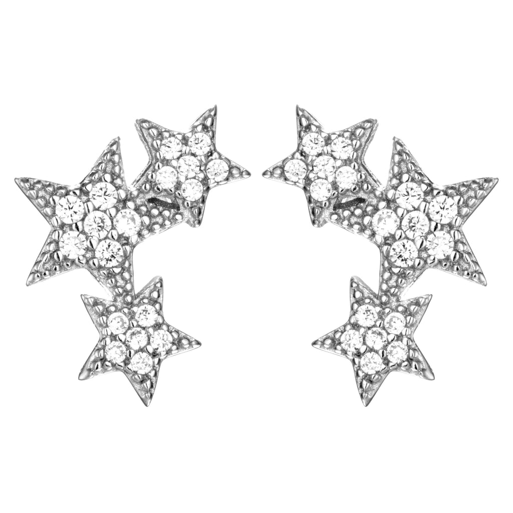 Counting Stars Stud Earrings with Clear Crystals in Sterling Silver