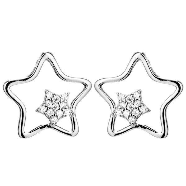 Double Stars with Clear Crystal Stud Earrings in Sterling Silver