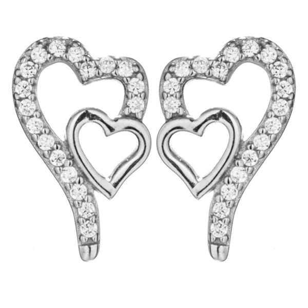Delicate Double Hearts Clear Crystal Stud Earrings in Sterling Silver