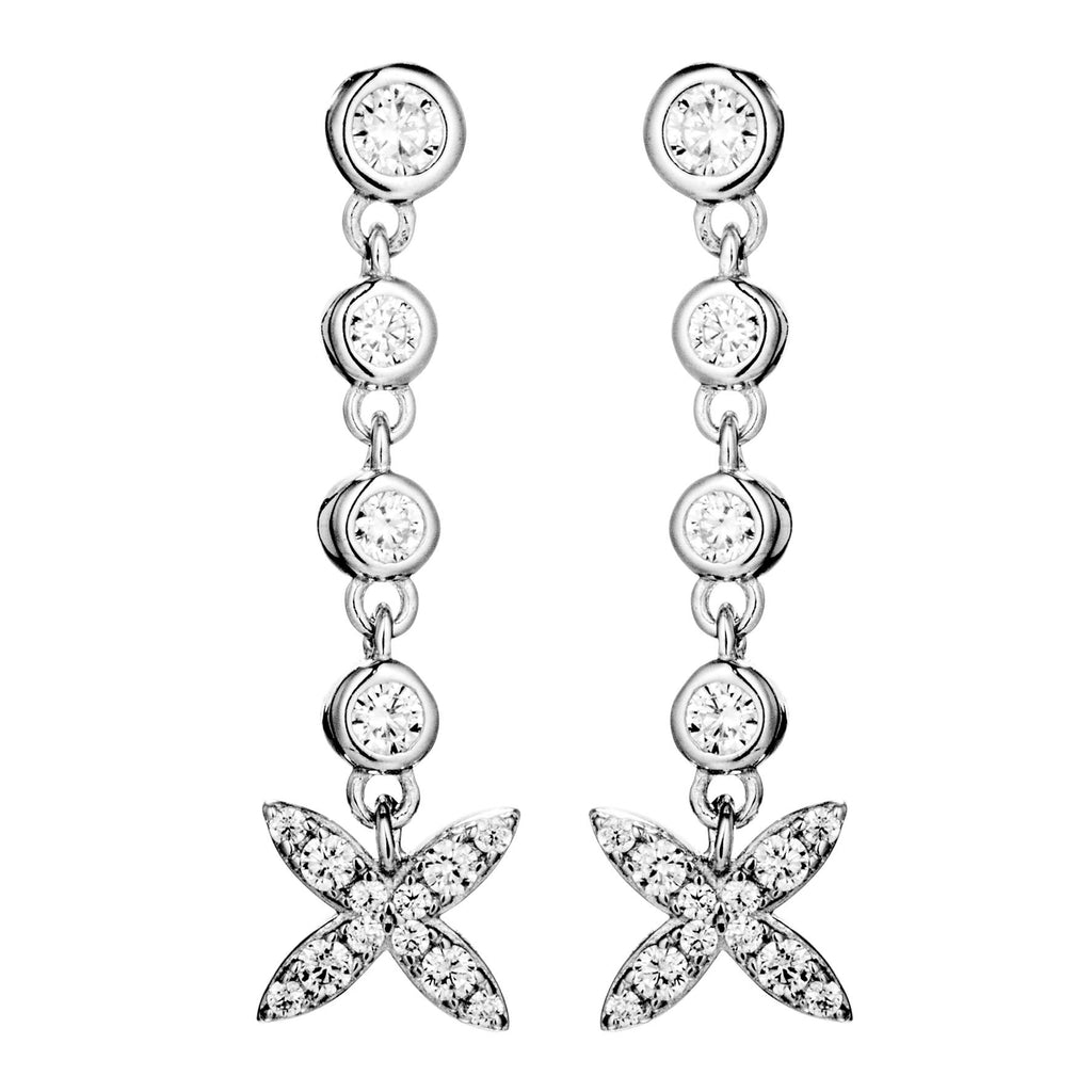 Blooming Flowing Flower Drop Earrings with Clear Crystals in Sterling Silver