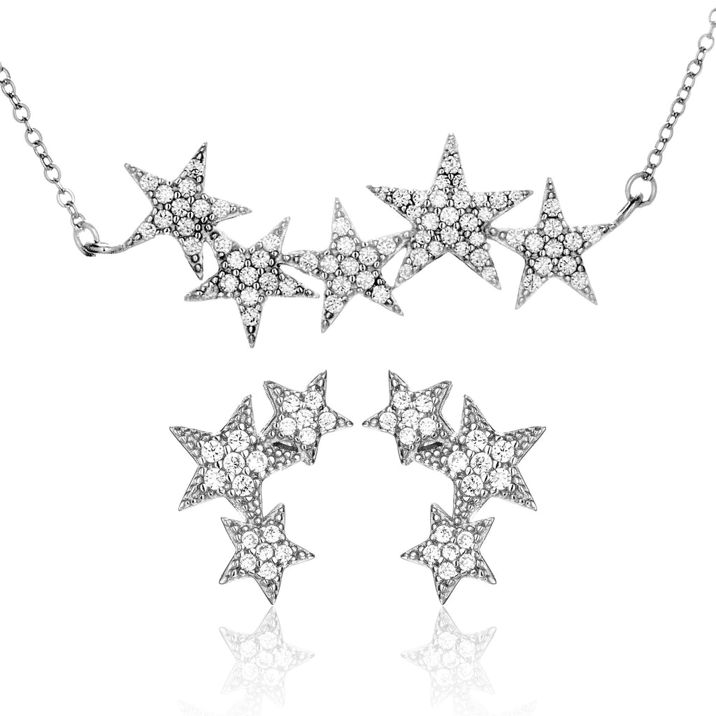Stars Cluster Stud Earrings & Necklace Set with Clear Crystals in Sterling Silver