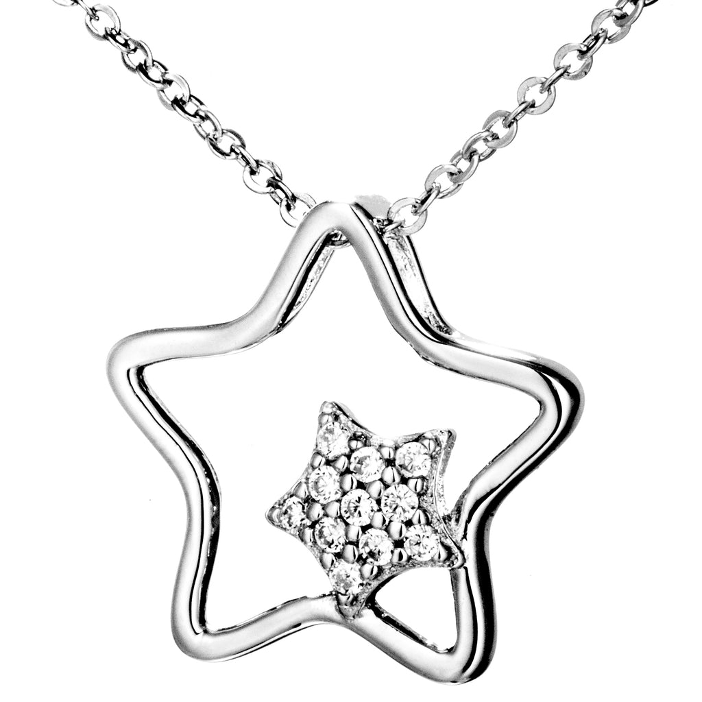 Double Star Hollow Out Necklace in Sterling Silver