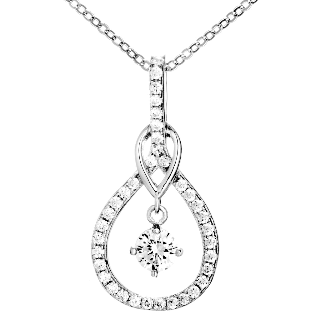 Gorgeous Tear Drop Hollow Out Pendant Necklace in Sterling Silver