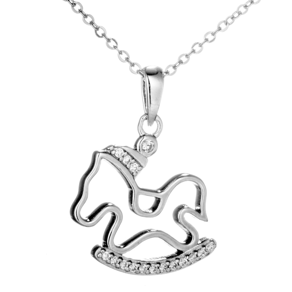 Hobbyhorse Pendant Necklace with Clear Crystal in Sterling Silver
