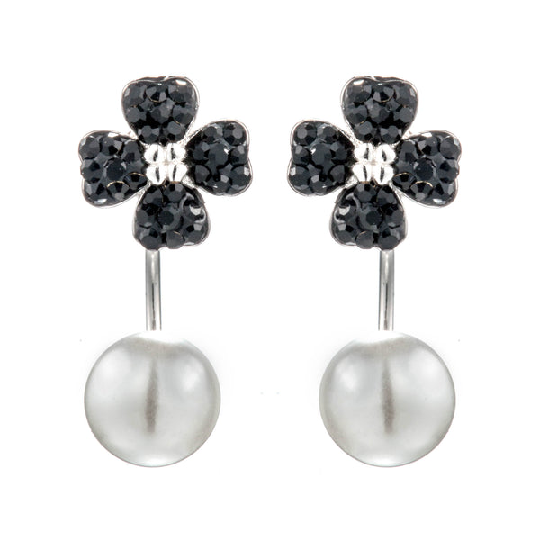 Lucky Clover Drop Earrings with Black Crystals & Mother of Pearl in Sterling Silver