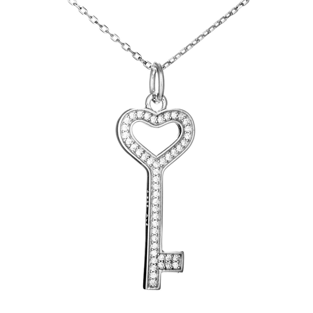 Heart Key Pendant Necklace in Sterling Silver