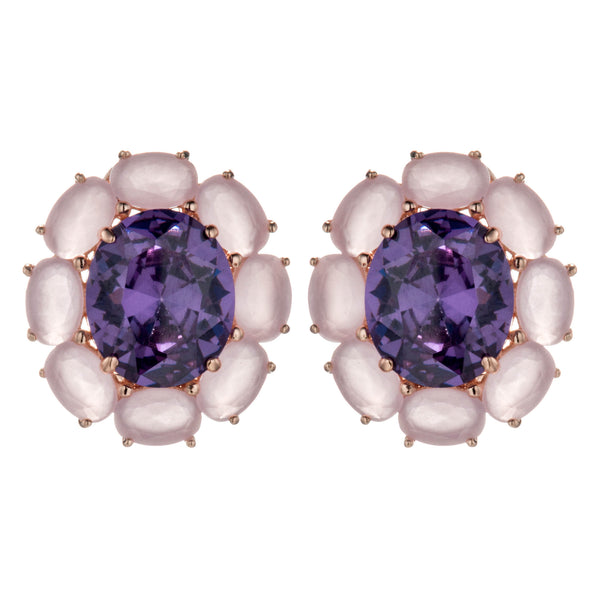 Purplish Pink Crystal Pastel Oval Stud Earrings with French Back