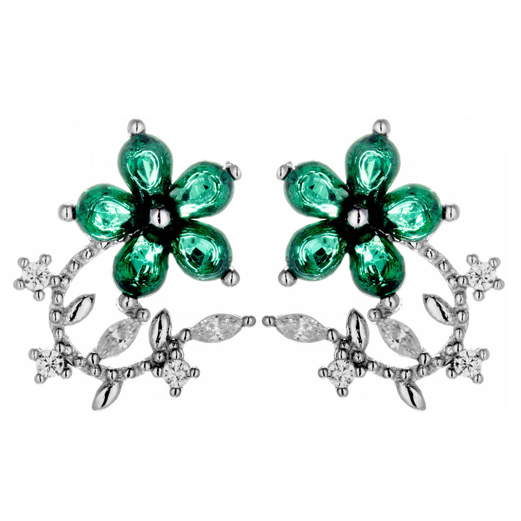 Lively Flower Leaf Vine Stud Earrings with Green & Clear Crystals in Sterling Silver