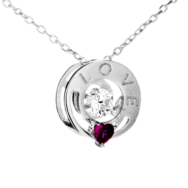 Moving Ruby Heart with Clear Dancing CRYSTAL Necklace in Sterling Silver