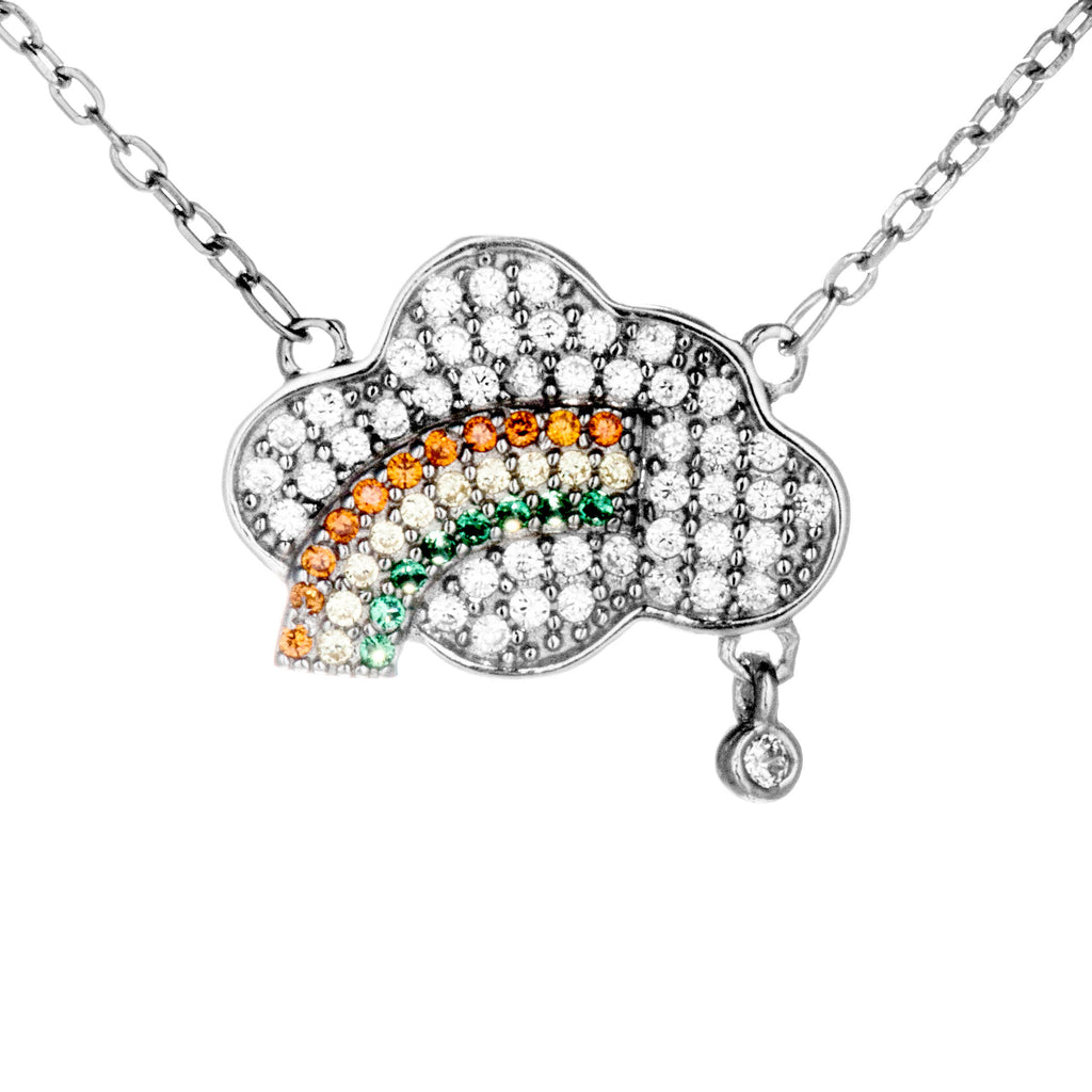 Rainbow, Cloud & Rain??Drop Crystal Necklace in Sterling Silver