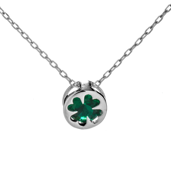 Natural Green Crystal Lucky Clover Necklace in Sterling Silver