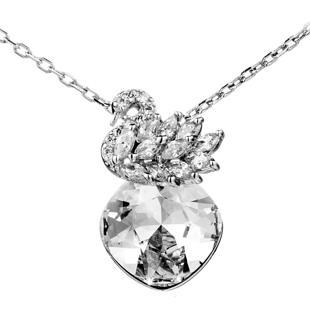 Sparky Swan Clear Crystal Necklace in Sterling Silver