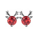 Petite Cute Red Reindeer Stud Earrings in Sterling Silver
