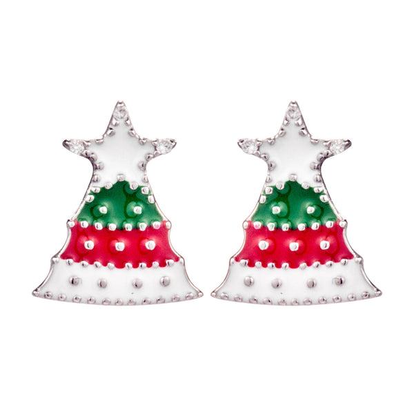 Snowy Christmas Tree Stud Earrings in Sterling Silver
