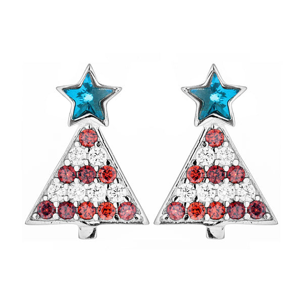 Sparkling Traditional Christmas Tree Stud Earrings in Sterling Silver