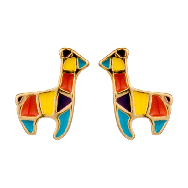 Gold Plated Giraffe Multicolor Kids Children Stud Earrings in Sterling Silver