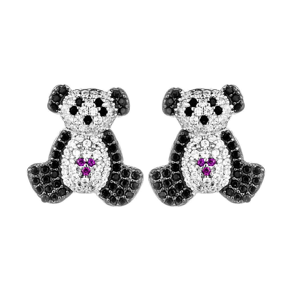 Panda Kids Children Stud Earrings in Sterling Silver