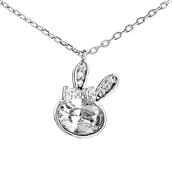 Rabbit Pendant Necklace with Clear Crystal in Sterling Silver