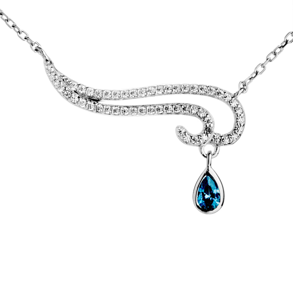 Auspicious Cloud with Blue Crystal Drop Necklace in Sterling Silver