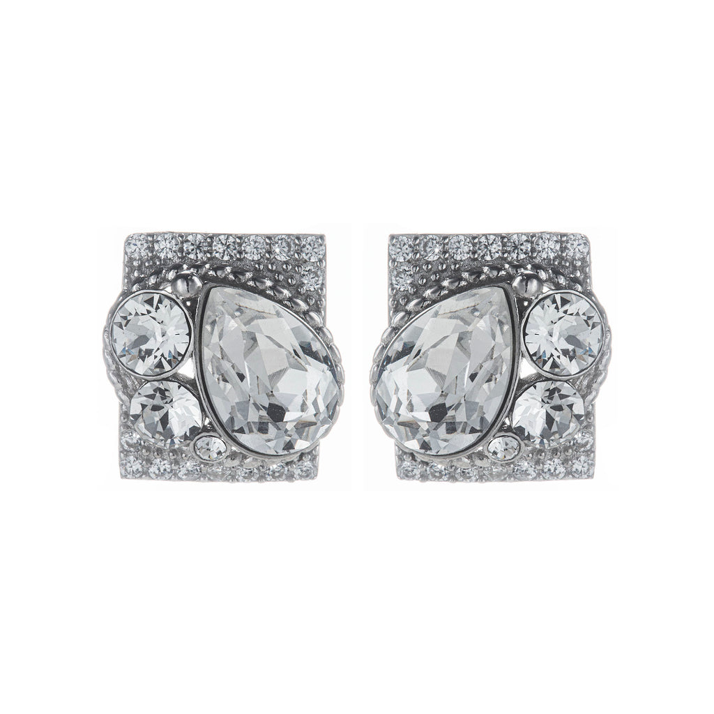 Chunky Crystal Stone Stud Earrings in Sterling Silver