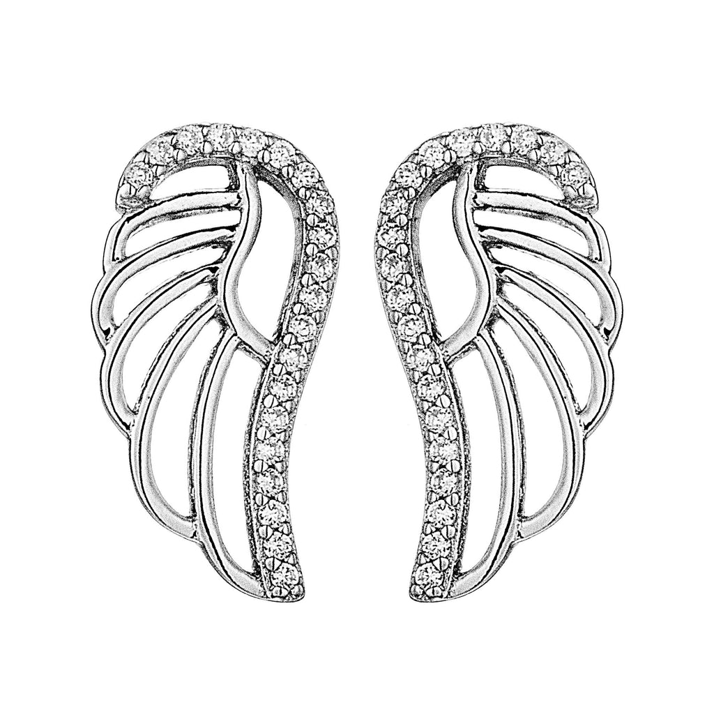 Angel Wing Hollow Out Stud Earrings in Sterling Silver