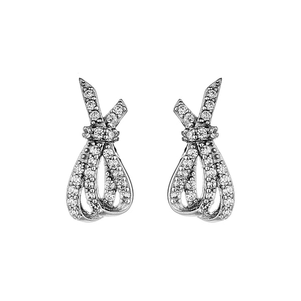 Mismatch Bowknot Stud Earrings with Clear Crystal in Sterling Silver