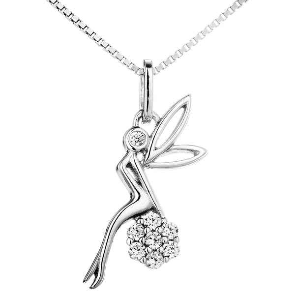 Flower & Fairy Pendant Necklace with Clear Crystal in Sterling Silver