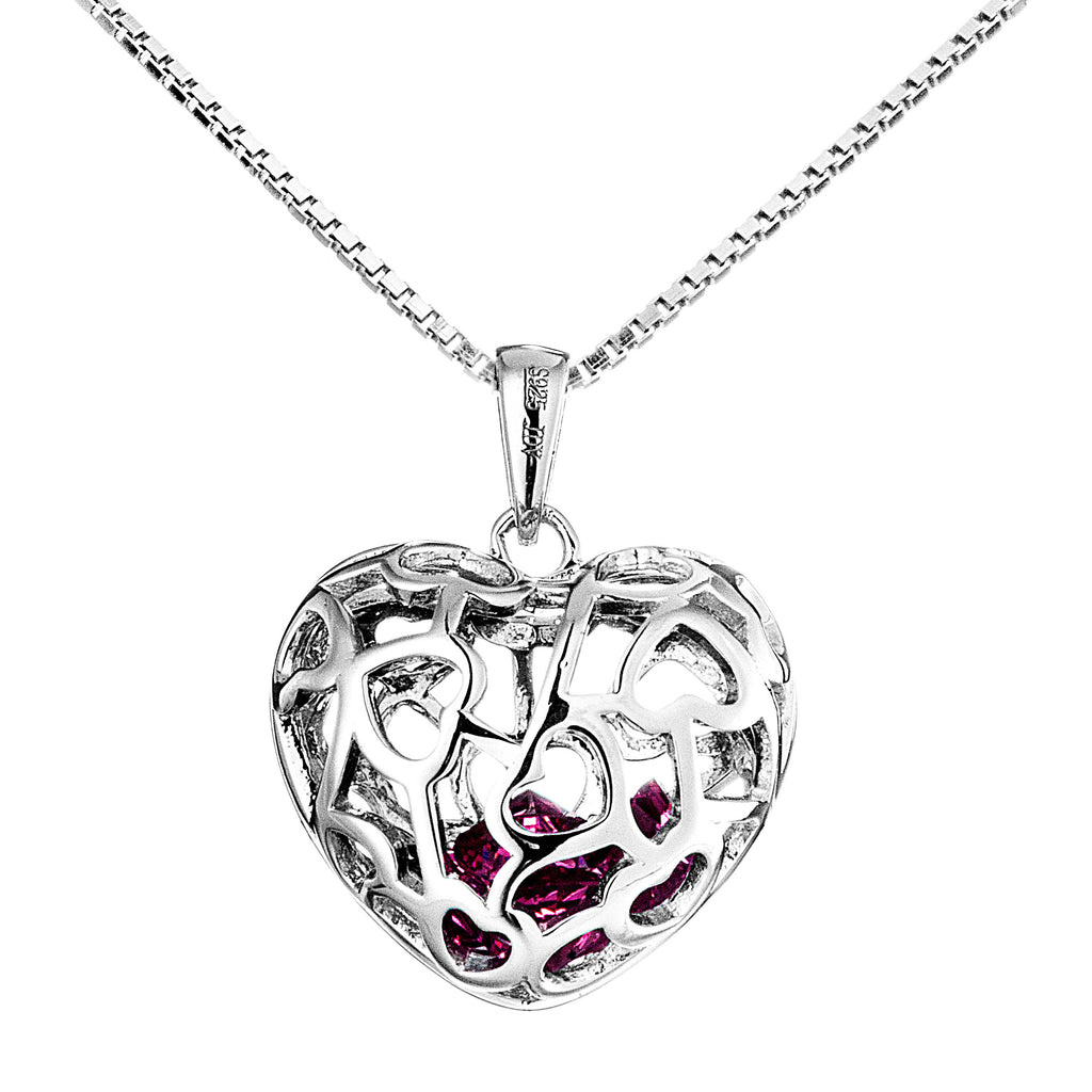 Heart Shaped Hollow Out Pendant Necklace with Pink Crystal in Sterling Silver