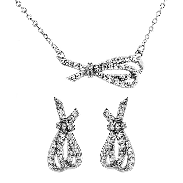 Mismatch Bowknot Necklace & Studs Set with Clear Crystal In Sterling Silver