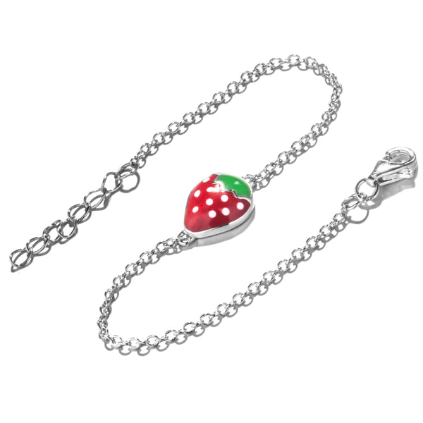 Kids Strawberry Bracelet In Sterling Silver