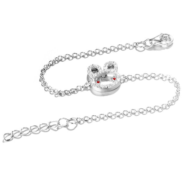 Kids Bunny, Rabbit Bracelet with Clear and Red Crystal In Sterling Silver