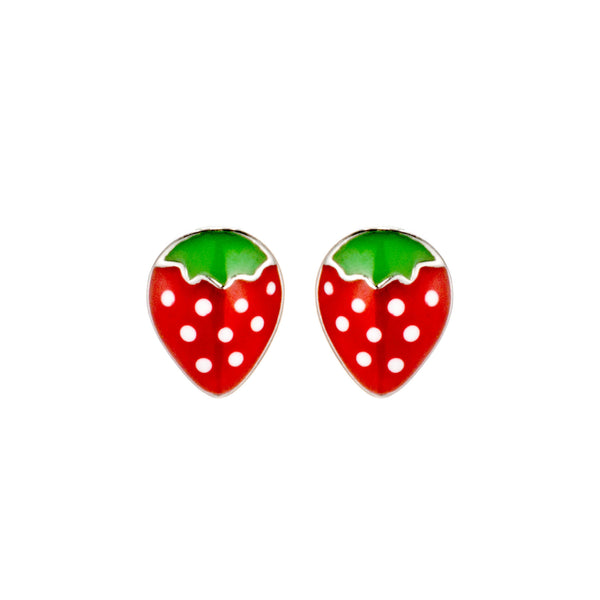 Strawberry Kids Children Stud Earrings in Sterling Silver