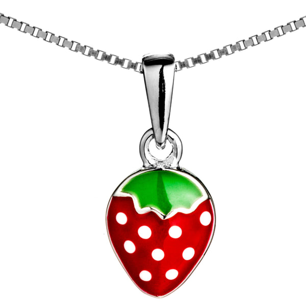 Adorable Strawberry Kids Children Necklace in Sterling Silver