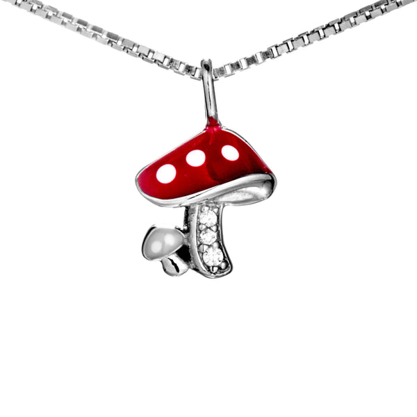 Adorable Red Mushrooms Kids Children Necklace in Sterling Silver