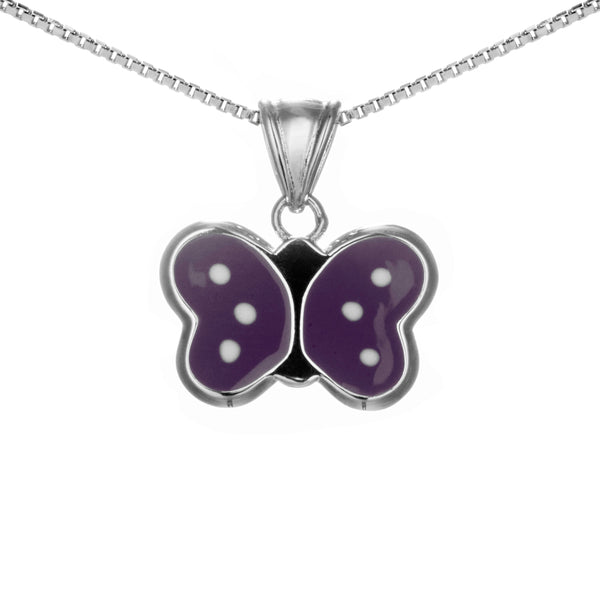 Lovely Purple Butterfly Kids Children Necklace in Sterling Silver