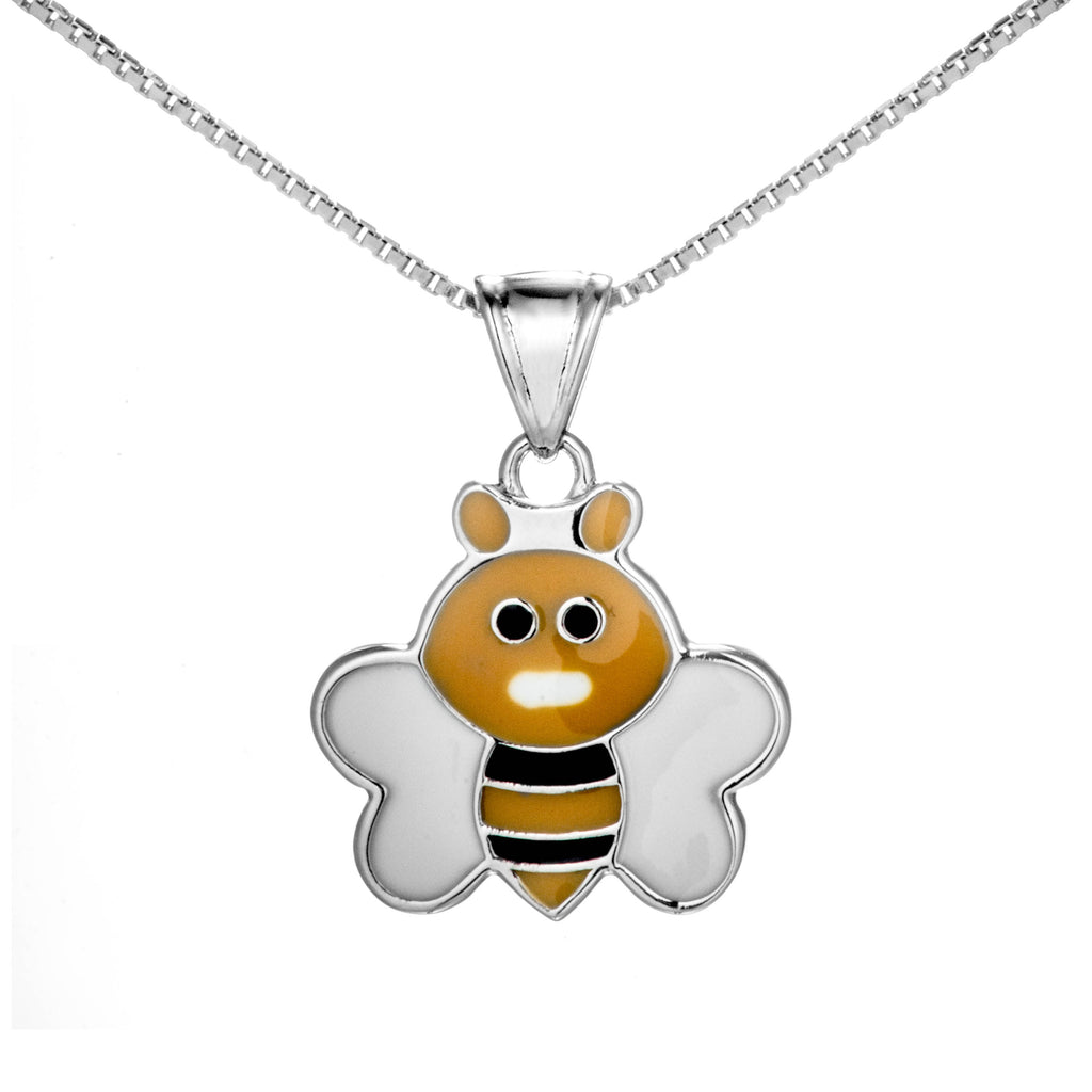 Lovely Yellow Bee Kids Children Necklace in Sterling Silver