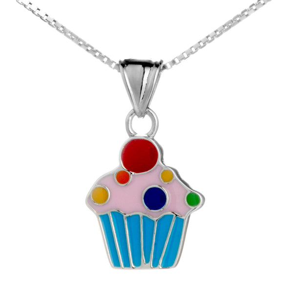 Multicolor Cute Cupcake Kids Necklace in Sterling Silver