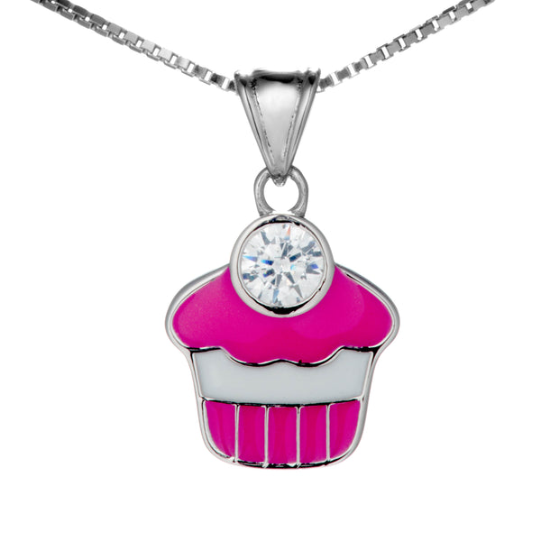 Cute Pink Cupcake Kids Pendant Necklace in Sterling Silver