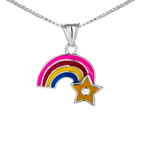 Multicolor Raindow Star Kids Necklace in Sterling Silver