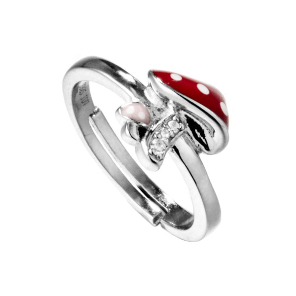 Red Mushroom Kids Adjustable Ring in Sterling Silver