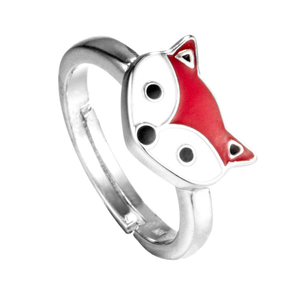 Cute Red Fox Kids Adjustable Ring in Sterling Silver