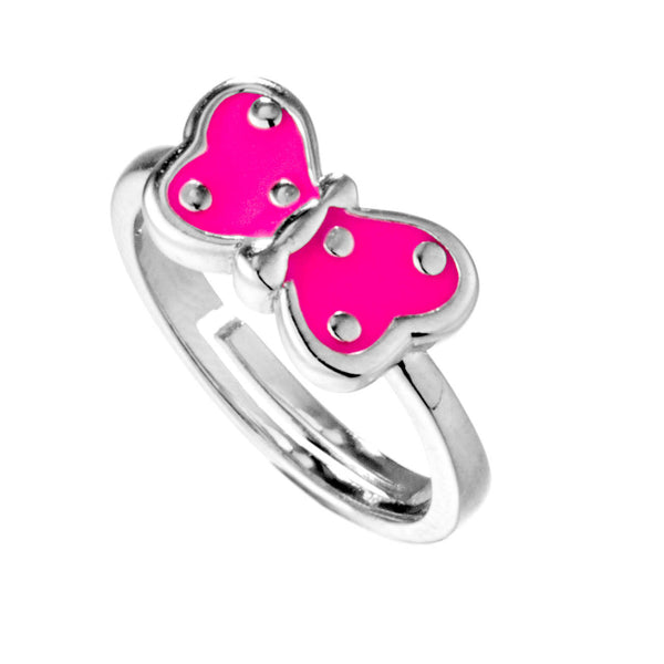 Pink Butterfly Kids Adjustable Ring in Sterling Silver